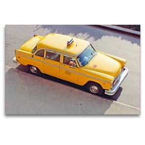 Premium Textil-Leinwand 120 x 80 cm Quer-Format Klassiker: Ein Checker Yellow Cab in New York | Wandbild, HD-Bild auf Keilrahmen, Fertigbild auf hochwertigem Vlies, Leinwanddruck von CALVENDO