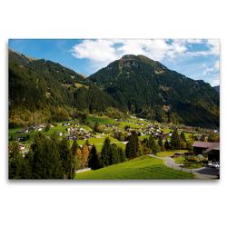 Premium Textil-Leinwand 120 x 80 cm Quer-Format Kleines Dorf bei Gaschurn | Wandbild, HD-Bild auf Keilrahmen, Fertigbild auf hochwertigem Vlies, Leinwanddruck von Tanja Riedel