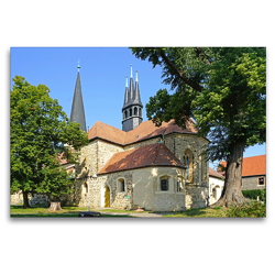 Premium Textil-Leinwand 120 x 80 cm Quer-Format Kloster Hillersleben | Wandbild, HD-Bild auf Keilrahmen, Fertigbild auf hochwertigem Vlies, Leinwanddruck von Beate Bussenius