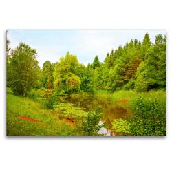 Premium Textil-Leinwand 120 x 80 cm Quer-Format Kohlweiher bei Hildrizhausen | Wandbild, HD-Bild auf Keilrahmen, Fertigbild auf hochwertigem Vlies, Leinwanddruck von Romy Pfeifer