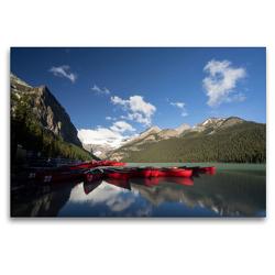 Premium Textil-Leinwand 120 x 80 cm Quer-Format Lake Louise / Alberta   Wandbild, HD-Bild auf Keilrahmen, Fertigbild auf hochwertigem Vlies, Leinwanddruck von Georg Beck