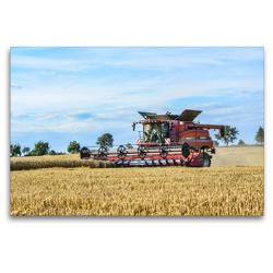 Premium Textil-Leinwand 120 x 80 cm Quer-Format Landwirtschaft – Giganten im Kornfeld | Wandbild, HD-Bild auf Keilrahmen, Fertigbild auf hochwertigem Vlies, Leinwanddruck von N N