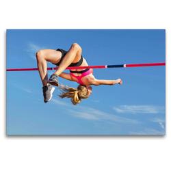 Premium Textil-Leinwand 120 x 80 cm Quer-Format Leichtathletik Wettkampf: Hochsprung | Wandbild, HD-Bild auf Keilrahmen, Fertigbild auf hochwertigem Vlies, Leinwanddruck von CALVENDO