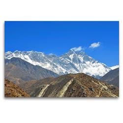 Premium Textil-Leinwand 120 x 80 cm Quer-Format Lhotse (8516 m) und Everest (8848 m) von links bei Orsho (4150 m) | Wandbild, HD-Bild auf Keilrahmen, Fertigbild auf hochwertigem Vlies, Leinwanddruck von Ulrich Senff