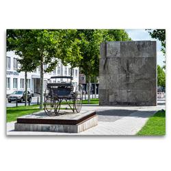 Premium Textil-Leinwand 120 x 80 cm Quer-Format Mannheim: Carl-Benz-Denkmal (Oststadt) | Wandbild, HD-Bild auf Keilrahmen, Fertigbild auf hochwertigem Vlies, Leinwanddruck von Thomas Seethaler