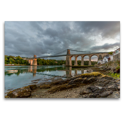 Premium Textil-Leinwand 120 x 80 cm Quer-Format Menai Suspension Bridge | Wandbild, HD-Bild auf Keilrahmen, Fertigbild auf hochwertigem Vlies, Leinwanddruck von Rene Schubert