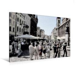 Premium Textil-Leinwand 120 x 80 cm Quer-Format Menschenauflauf   Wandbild, HD-Bild auf Keilrahmen, Fertigbild auf hochwertigem Vlies, Leinwanddruck von Paul Michalzik von Michalzik,  Paul