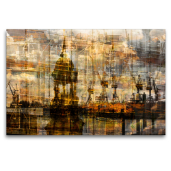 Premium Textil-Leinwand 120 x 80 cm Quer-Format Michel und Hafen | Wandbild, HD-Bild auf Keilrahmen, Fertigbild auf hochwertigem Vlies, Leinwanddruck von Karsten Jordan