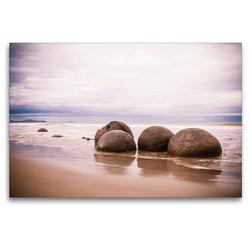 Premium Textil-Leinwand 120 x 80 cm Quer-Format Moeraki Boulders am Koekohe Beach | Wandbild, HD-Bild auf Keilrahmen, Fertigbild auf hochwertigem Vlies, Leinwanddruck von Art is Passion Photodesign by Silvia Höld