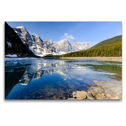 Premium Textil-Leinwand 120 x 80 cm Quer-Format Moraine Lake, Juwel im Banff NP. | Wandbild, HD-Bild auf Keilrahmen, Fertigbild auf hochwertigem Vlies, Leinwanddruck von Adrian Geering
