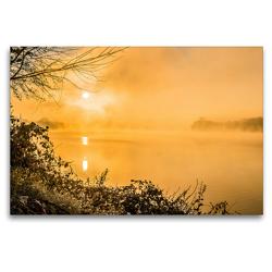 Premium Textil-Leinwand 120 x 80 cm Quer-Format Morgenstimmung am Baldeneysee von der Heisinger Seite   Wandbild, HD-Bild auf Keilrahmen, Fertigbild auf hochwertigem Vlies, Leinwanddruck von Rolf Hitzbleck