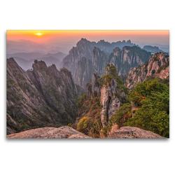 Premium Textil-Leinwand 120 x 80 cm Quer-Format Mount Huangshan, Yellow Mountain, Anhui Province   Wandbild, HD-Bild auf Keilrahmen, Fertigbild auf hochwertigem Vlies, Leinwanddruck von Christian Heeb