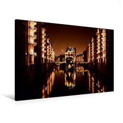Premium Textil-Leinwand 120 x 80 cm Quer-Format Nächtliche Speicherstadt mit Brücken | Wandbild, HD-Bild auf Keilrahmen, Fertigbild auf hochwertigem Vlies, Leinwanddruck von Diane Jordan von Jordan,  Diane