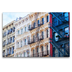 Premium Textil-Leinwand 120 x 80 cm Quer-Format Fassaden in Soho, New York City | Wandbild, HD-Bild auf Keilrahmen, Fertigbild auf hochwertigem Vlies, Leinwanddruck von Christian Müller