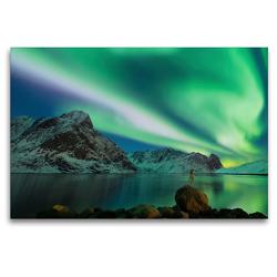 Premium Textil-Leinwand 120 x 80 cm Quer-Format Nordlicht Reinevatnet Norwegen | Wandbild, HD-Bild auf Keilrahmen, Fertigbild auf hochwertigem Vlies, Leinwanddruck von Johann Schörkhuber
