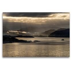 Premium Textil-Leinwand 120 x 80 cm Quer-Format Norwegen erwacht | Wandbild, HD-Bild auf Keilrahmen, Fertigbild auf hochwertigem Vlies, Leinwanddruck von Christiane Calmbacher
