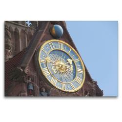 Premium Textil-Leinwand 120 x 80 cm Quer-Format Nürnberg – Uhr an der Frauenkirche | Wandbild, HD-Bild auf Keilrahmen, Fertigbild auf hochwertigem Vlies, Leinwanddruck von Angelika Keller
