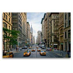 Premium Textil-Leinwand 120 x 80 cm Quer-Format NYC Fifth Avenue Verkehr | Wandbild, HD-Bild auf Keilrahmen, Fertigbild auf hochwertigem Vlies, Leinwanddruck von Melanie Viola