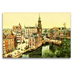 Premium Textil-Leinwand 120 x 80 cm Quer-Format Panorama b/d Munt (Panorama am Münzturm), Amsterdam | Wandbild, HD-Bild auf Keilrahmen, Fertigbild auf hochwertigem Vlies, Leinwanddruck von Jens Siebert
