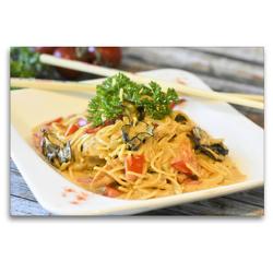 Premium Textil-Leinwand 120 x 80 cm Quer-Format Pasta. Asiatische Nudeln mit Hühnchenfleisch und Pilzen | Wandbild, HD-Bild auf Keilrahmen, Fertigbild auf hochwertigem Vlies, Leinwanddruck von Rose Hurley