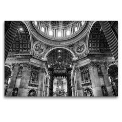 Premium Textil-Leinwand 120 x 80 cm Quer-Format Petersdom im Vatikan   Wandbild, HD-Bild auf Keilrahmen, Fertigbild auf hochwertigem Vlies, Leinwanddruck von Sergej Dimmel
