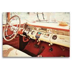 Premium Textil-Leinwand 120 x 80 cm Quer-Format Pontiac Cockpit, Nostalgisch und Klassisch | Wandbild, HD-Bild auf Keilrahmen, Fertigbild auf hochwertigem Vlies, Leinwanddruck von Holger Gräbner
