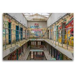 Premium Textil-Leinwand 120 x 80 cm Quer-Format Prison 15H | Wandbild, HD-Bild auf Keilrahmen, Fertigbild auf hochwertigem Vlies, Leinwanddruck von Industrieller