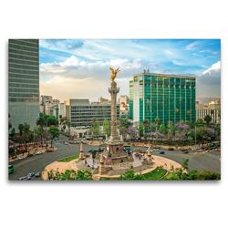 Premium Textil-Leinwand 120 x 80 cm Quer-Format Quirliges Treiben in Mexiko-Stadt an der Säule mit dem Engel der Unabhängigkeit | Wandbild, HD-Bild auf Keilrahmen, Fertigbild auf hochwertigem Vlies, Leinwanddruck von CALVENDO