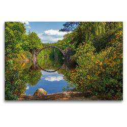 Premium Textil-Leinwand 120 x 80 cm Quer-Format Rakotzbrücke im Rhododrendronpark Kromlau | Wandbild, HD-Bild auf Keilrahmen, Fertigbild auf hochwertigem Vlies, Leinwanddruck von N N