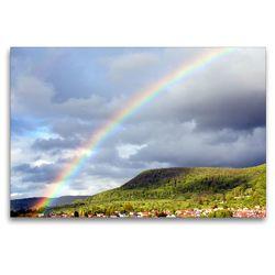 Premium Textil-Leinwand 120 x 80 cm Quer-Format Regenbogen über Pfullingen | Wandbild, HD-Bild auf Keilrahmen, Fertigbild auf hochwertigem Vlies, Leinwanddruck von GUGIGEI