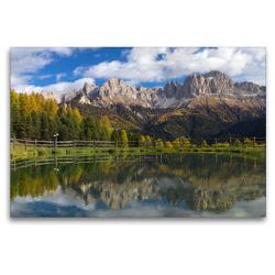 Premium Textil-Leinwand 120 x 80 cm Quer-Format Rosengarten mit Spiegelbild   Wandbild, HD-Bild auf Keilrahmen, Fertigbild auf hochwertigem Vlies, Leinwanddruck von Heinz Schmidbauer