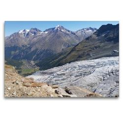 Premium Textil-Leinwand 120 x 80 cm Quer-Format Saas Fee Gletscher | Wandbild, HD-Bild auf Keilrahmen, Fertigbild auf hochwertigem Vlies, Leinwanddruck von Susan Michel