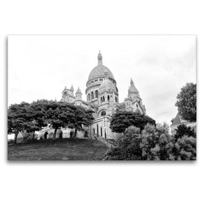 Premium Textil-Leinwand 120 x 80 cm Quer-Format Sacre Coeur in Paris | Wandbild, HD-Bild auf Keilrahmen, Fertigbild auf hochwertigem Vlies, Leinwanddruck von kattobello