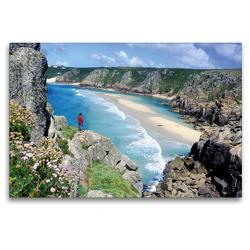 Premium Textil-Leinwand 120 x 80 cm Quer-Format Sagenumwobenes Cornwall – Klippen, blaues Meer, ein Paradies im Südwesten von England | Wandbild, HD-Bild auf Keilrahmen, Fertigbild auf hochwertigem Vlies, Leinwanddruck von CALVENDO