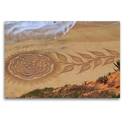 Premium Textil-Leinwand 120 x 80 cm Quer-Format Sandmalerei von Vitor Raposo: Rose am Strand | Wandbild, HD-Bild auf Keilrahmen, Fertigbild auf hochwertigem Vlies, Leinwanddruck von Marion Meyer @ Stimmungsbilder1