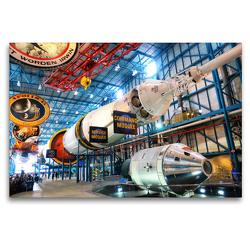 Premium Textil-Leinwand 120 x 80 cm Quer-Format Saturn 5 Rakete mit Apollo Kapsel | Wandbild, HD-Bild auf Keilrahmen, Fertigbild auf hochwertigem Vlies, Leinwanddruck von Lars Eberschulz