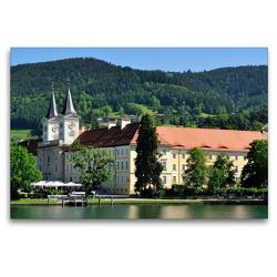Premium Textil-Leinwand 120 x 80 cm Quer-Format Schloss Tegernsee | Wandbild, HD-Bild auf Keilrahmen, Fertigbild auf hochwertigem Vlies, Leinwanddruck von Dieter-M. Wilczek