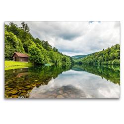 Premium Textil-Leinwand 120 x 80 cm Quer-Format Schmala-Stausee bei Brilon | Wandbild, HD-Bild auf Keilrahmen, Fertigbild auf hochwertigem Vlies, Leinwanddruck von Heidi Bücker