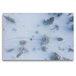 Premium Textil-Leinwand 120 x 80 cm Quer-Format Schneeschuhtour in MTB – Rinne | Wandbild, HD-Bild auf Keilrahmen, Fertigbild auf hochwertigem Vlies, Leinwanddruck von Rolf Dietz