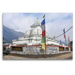 Premium Textil-Leinwand 120 x 80 cm Quer-Format Schöner Stupa im Dorf Chaurikharka im Solu Khumbu auf 2650 m Höhe | Wandbild, HD-Bild auf Keilrahmen, Fertigbild auf hochwertigem Vlies, Leinwanddruck von Ulrich Senff