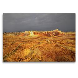 Premium Textil-Leinwand 120 x 80 cm Quer-Format Schwefelebenen in der Danakil Wüste | Wandbild, HD-Bild auf Keilrahmen, Fertigbild auf hochwertigem Vlies, Leinwanddruck von Michael Herzog