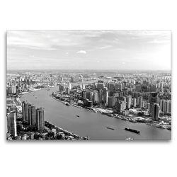 Premium Textil-Leinwand 120 x 80 cm Quer-Format Shanghai Skyline mit Huangpu River | Wandbild, HD-Bild auf Keilrahmen, Fertigbild auf hochwertigem Vlies, Leinwanddruck von Ralf Wittstock