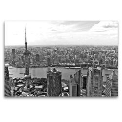 Premium Textil-Leinwand 120 x 80 cm Quer-Format Shanghai Skyline mit Pearl Tower und Huangpu River | Wandbild, HD-Bild auf Keilrahmen, Fertigbild auf hochwertigem Vlies, Leinwanddruck von Ralf Wittstock