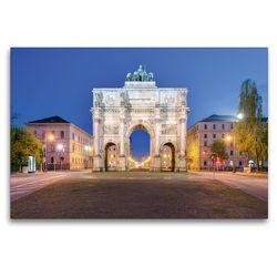 Premium Textil-Leinwand 120 x 80 cm Quer-Format Siegestor in München   Wandbild, HD-Bild auf Keilrahmen, Fertigbild auf hochwertigem Vlies, Leinwanddruck von Michael Valjak