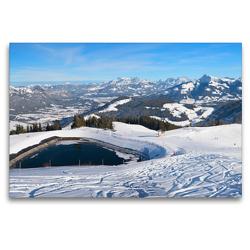 Premium Textil-Leinwand 120 x 80 cm Quer-Format Skigebiet Hartkaiser am Wilden Kaiser | Wandbild, HD-Bild auf Keilrahmen, Fertigbild auf hochwertigem Vlies, Leinwanddruck von SusaZoom