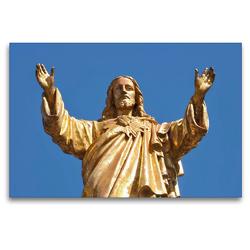Premium Textil-Leinwand 120 x 80 cm Quer-Format Skulptur von Jesus | Wandbild, HD-Bild auf Keilrahmen, Fertigbild auf hochwertigem Vlies, Leinwanddruck von Marion Meyer @ Stimmungsbilder1
