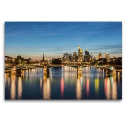 Premium Textil-Leinwand 120 x 80 cm Quer-Format Skyline Frankfurt und Ignatz-Bubis-Brücke | Wandbild, HD-Bild auf Keilrahmen, Fertigbild auf hochwertigem Vlies, Leinwanddruck von Michael Valjak