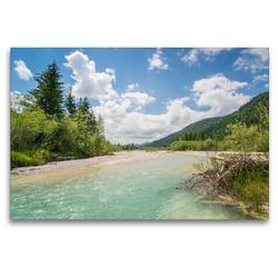 Premium Textil-Leinwand 120 x 80 cm Quer-Format Sommer im Isartal   Wandbild, HD-Bild auf Keilrahmen, Fertigbild auf hochwertigem Vlies, Leinwanddruck von Martin Wasilewski