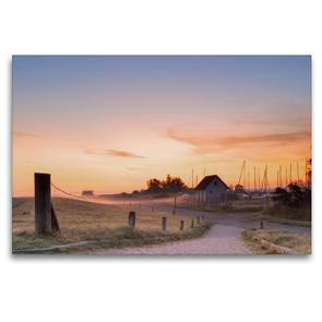 Premium Textil-Leinwand 120 x 80 cm Quer-Format Sonnenaufgang am Seglerhafen in Vitte | Wandbild, HD-Bild auf Keilrahmen, Fertigbild auf hochwertigem Vlies, Leinwanddruck von Stephan Schulz