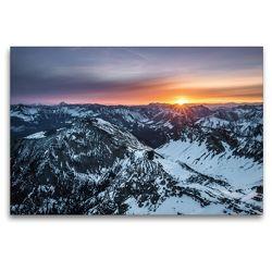 Premium Textil-Leinwand 120 x 80 cm Quer-Format Sonnenaufgang im Karwendel | Wandbild, HD-Bild auf Keilrahmen, Fertigbild auf hochwertigem Vlies, Leinwanddruck von Maik Bergpixel Major